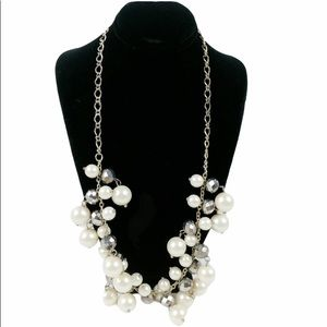 """Mixed faux pearl geometric bubble necklace 20"""""""